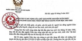 Thư Chủ tịch nước gửi ngành Giáo dục nhân dịp khai giảng năm học mới