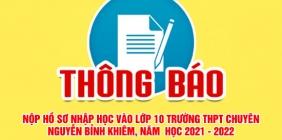 Thông báo phát hành và thu nhận hồ sơ học sinh trúng tuyển vào lớp 10 Trường THPT chuyên Nguyễn Bỉnh Khiêm năm học 2021-2022