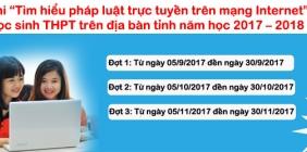 Cuộc thi Tìm hiểu pháp luật trực tuyến trên mạng Internet cho  học sinh THPT trên địa bàn tỉnh năm học 2017 – 2018