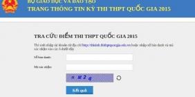 Tra cứu điểm thi THPT Quốc gia năm 2015